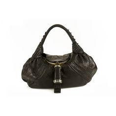 Fendi Black Pebbled Leather Spy Bag Handbag Shoulder Bag Shopper 4c703cc9762cc