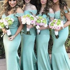 Cheap bridesmaid dresses ,Mint Green Bridesmaid Dresses,Off The Shoulder wedding Guest Dress,Mermaid Bridesmaids Dresses