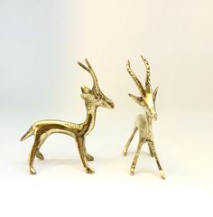 Beautifully Sculpted Handmade Bronze Statuettes of a Couple of Standing Antelopes from Benin, Africa