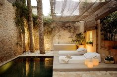 Stunning plunge pool in a courtyard garden in Mallorca.