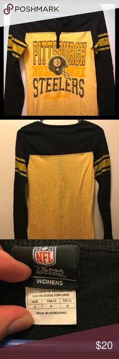 Pittsburgh Steelers Long Sleeve Shirt Officially licensed NFL Women's Apparel. Steeler Long Sleeve Shirt. Shirt is very soft and made with a light material. The shirt has 5 buttons at the top. Barely worn! NFL Tops Tees - Long Sleeve