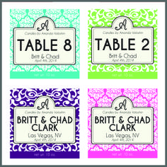 Samples of Personalized Labels for our Soy Candles. Pick a background and color choice to match your theme and decor! www.facebook.com/...