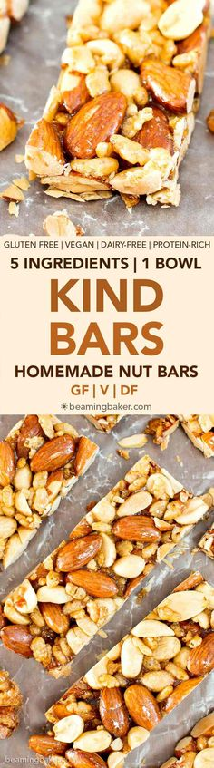 Healthy snacks recipes - 5 Ingredient Homemade KIND Nut Bars (V, GF, DF) an easy, one bowl recipe for irresistibly salty and sweet homemade KIND bars ProteinPacked Vegan GlutenFree DairyFree RefinedSugarFree BeamingB Healthy Bars, Healthy Recipes, Dairy Free Recipes, Vegan Gluten Free, Whole Food Recipes, Healthy Snacks, Snack Recipes, Cooking Recipes, Healthy Steak