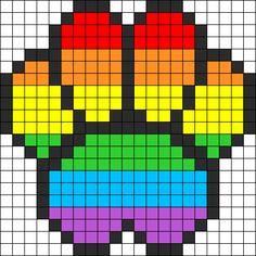 Rainbow Puppy Print2 Perler Bead Pattern / Bead Sprite