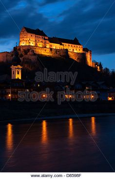 Castle Burghausen at night, Upper Bavaria Germany - Stock Image