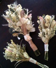 Natural Wedding Bouquet - Romantic Vintage Dried Roses Larkspur Champagne Blush Bleached Peacock Feathers Lunaria Ribbon Rose Pearl. $80.00, via Etsy.