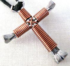 Antique Copper  Horseshoe Nail Disciple's Cross by Nailcrosses