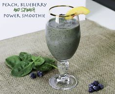 Beat the heat with this nice refreshing Peach, Blueberry and Spinach Power Smoothie. It's naturally sweetened, and packed full of fiber, protein and antioxidants which makes this delicious smoothie that much more desirable.