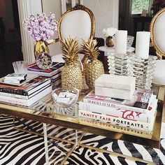 I love this Hollywood Regency style coffee table and set up. So Glamorous and easy to replicate.