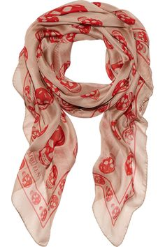 Sand sheer silk-chiffon scarf with a red skull print. Alexander McQueen scarf has a skull-print border and a designer signature in corner. Chiffon Scarf, Silk Chiffon, Alexander Mcqueen Skull Scarf, Mcqueen 3, Alexandre Mcqueen, Skull Print, So Little Time, Womens Scarves, Passion For Fashion