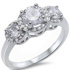 2.00 CT Round Brilliant Sparkle Russian Clear Crystal Diamond CZ Vintage Halo Three Stone Solid 925 Sterling Silver Wedding Engagement Ring