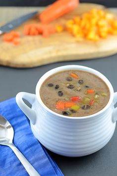 #vegan black bean soup with vegetable brooth, bell peppers, onions, celery, and carrots