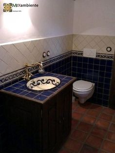 Handbemalte Fliesen Aus Mexiko Für Ein Rustikales Badezimmer   Waschbecen U0026  Fliesen Von Mexambiente