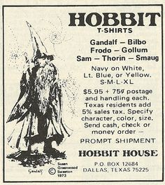 hobbit advertisments | Old Ads Are Funny: 1978 ad: Hobbit T-Shirts