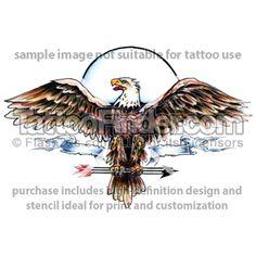 TattooFinder.com: Winged Warrior tattoo design by Spider Webb, eagle, banner, arrows, spread wings, emblem