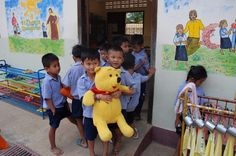 """""""Children and bear"""" by TravelPod blogger mrsdee from the entry """"Battambang to Svay Sisiphon"""" on Tuesday, February  2, 2016 in Svay Sisiphon, Cambodia"""