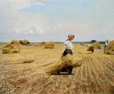 Victor Gabriel Gilbert Harvest painting is shipped worldwide,including stretched canvas and framed art.This Victor Gabriel Gilbert Harvest painting is available at custom size. Gabriel, Romantic Paintings, Felder, Oil Painting Reproductions, Art For Art Sake, Western Art, Champs, Female Art, Oil On Canvas