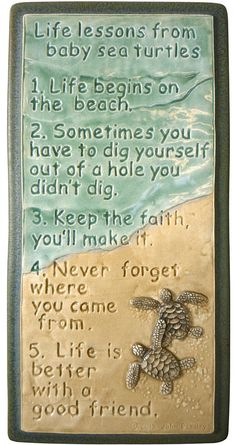 Life Lessons learned from baby Sea Turtles . Pin It if you just love baby sea turtles, we sure do! Lots of cute sea turtles are made in Florida, just like our DeckBagZ. We're all just paddling along the beaches! Ceramic Wall Art, Tile Art, Ceramic Decor, Baby Sea Turtles, Sweet Turtles, Beach Quotes, Ocean Quotes, Surf Quotes, Beach Sayings