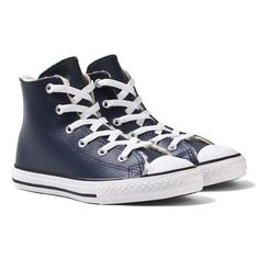 Blue Leather Chuck Taylor All Star Hi-Tops