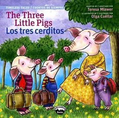 Mlawer, T., & Cuéllar, O. (2014). The three little pigs = Los tres cerditos. Canandaigua, NY: Adirondack Books. Grade level: 2-4 This book talks about the story of three little pigs who build their own houses against the wolf. This book has both English and Spanish. This book is great because it teaches children to make the best decision at the right time. Watercolor is used as the primary medium of the book and expressions of characters are accurate when facing various conditions.