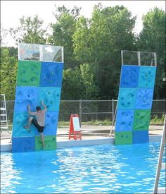 Rocking climbing wall in pool