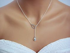 Crystal Rain Cloud Lariat Necklace in Silver- spring summer style, modern sexy sophisticated, available in gold. on Etsy, $24.00