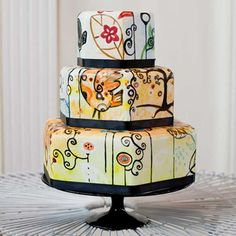 Colorful Art Deco Tiered Cake