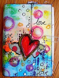 painted journal, craft, journal covers, art journals, happy colors, doodl, colored pencils, bright colors