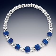 Diamond Jewelry Magnificent sapphire and diamond necklace-bracelet combination, the sapphires weighing a total of approximately carats, Harry Winston. Diamond Necklace Simple, Sapphire Necklace, Sapphire Jewelry, Diamond Hoop Earrings, Diamond Pendant, Diamond Jewelry, Diamond Necklaces, Necklace Set, Diamond Rings