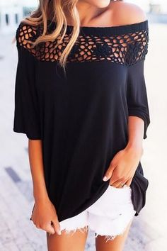 Casual Lace Sleeves Cotton Blends Off the Shoulder Knit Blouses, veryvoga Sweaters For Women, T Shirts For Women, Clothes For Women, Fall Clothes, Tops Boho, Fasion, Fashion Outfits, Women's Fashion, Trendy Outfits