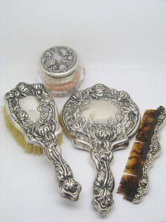 4 Piece MERIDEN Brittania Co. Sterling Silver Dresser Set
