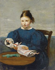 Jean-Baptiste-Camille Corot (1796-1875)  —  Little Girl with a Doll (805×1024)
