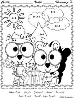 math worksheet : forest fun multiplication mosaics! 8 pages of fun! color by number  : Groundhog Day Math Worksheets