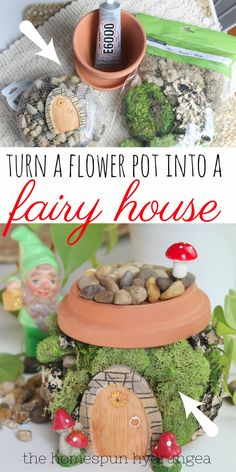 This is such a cute fairy garden idea! See how to turn a flower pot into a fairy house or gnome home, perfect for your homemade gardens. This is one of my fave DIY fairy garden accessories, because it is so easy to make. This is also the perfect fairy garden craft for kids and adults alike, making it a fun summer craft anyone can enjoy. If you are looking for fairy garden ideas, give this easy flower pot fairy house a try.