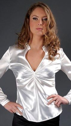 White Satin Blouse, Silk Satin Dress, Satin Top, Satin Blouses, Satin Dresses, White Blouses, White Shirts, Nylons, Sleeves Designs For Dresses