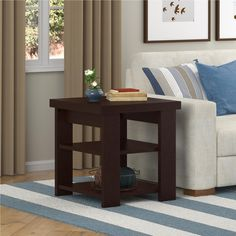 Amazon.com: Hollow Core Contemporary End Table, Black Forest Finish: Kitchen & Dining