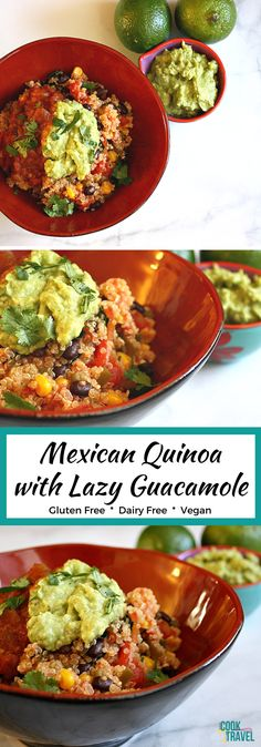 One of the most popular posts on my blog is this Mexican Quinoa with Lazy Guacamole, and for good reason! It's healthy, simple, packed with veggies, and is delicious. Plus this lazy guacamole is crazy good and handy to be able to make anytime. #dairyfreerecipe #glutenfreerecipe #veganrecipe