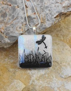 New to GlassCat on Etsy: Dragonfly Pendant Dichroic Glass Pendant Fused Glass Pendant White Glass Pendant Image Pendant Fused Glass Necklace Dragonfly Garden (22.50 USD)