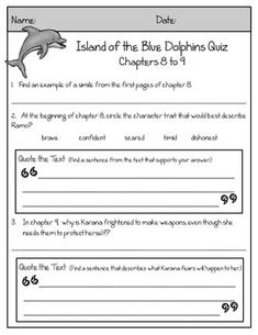 Island of the Blue Dolphins Novel Guide (Includes Text-Based Quizzes, Quote Book, and Survival Guide Activity)