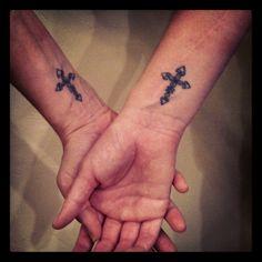 Sister tattoo. Cross on wrist. Inked by Yasik @ Avalon Tattoo in San Diego, CA.