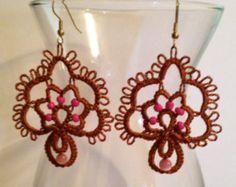 Rosa y marrón de encaje – aguja soy árbol de vida pendientes-