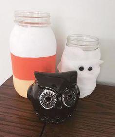 Mummy & candy corn mason jars for Halloween