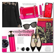 """""""Embellished Sleeves RP"""" by vkmd ❤ liked on Polyvore featuring Victoria Beckham, Elie Tahari, Marc Jacobs, MAC Cosmetics, M Missoni, Casetify, Moschino, Gentle Monster, Jimmy Choo and Prada"""