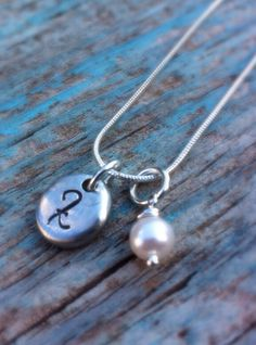 Initial Pewter pebble and pearl Elegant and by MamaDramaJewelry, $24.99