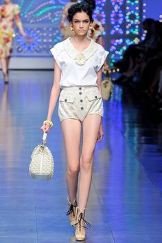"""Didn't these """"diaper""""-type shorts get someone kicked off Project Runway recently? One of the GOOD decisions. Dolce & Gabbana Spring 2012 RTW"""