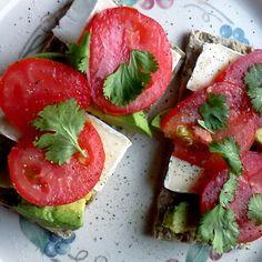 Avocado, Tomato, and Brie on Crackers  If you're in the mood for a little crunch, top whole grain or low-carb crackers with a slice of brie, avocado, fresh tomato, cilantro, and sprinkle with a little salt and pepper. If you're not a fan of brie, substitute provolone, goat cheese, or another type of cheese