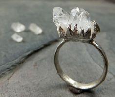 Raw Natural Arkansas Quartz Crystal Cluster Sterling Silver gemstone Ring