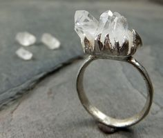 Raw Natural Arkansas Quartz Crystal Cluster Sterling Silver gemstone Ring