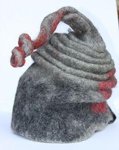 grey red wool elf hat millinery felting   purpleberry - Accessories on ArtFire