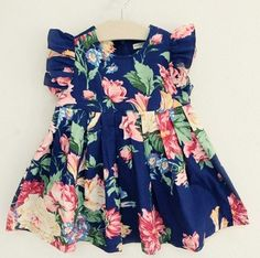 Vintage inspired floral dress in blue    Available in sizes 2, 3, 4 and 5.
